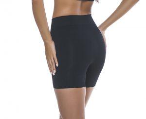 Short modelador cintura média preto costas