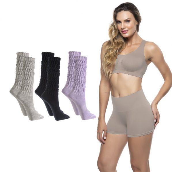 kit torp dia dos namorados modelo usa roupa íntima preta + 3 pares de meia cano longo