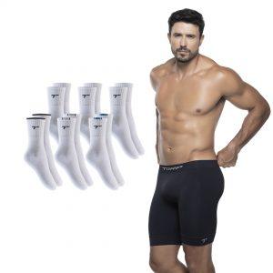 modelo usa bermuda térmica sem costura da torp + 6 pares de meias brancas - kit dia dos namorados