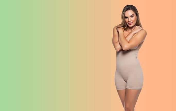 Mulher com com peça íntima boxer modeladora cintura alta sem costura Torp
