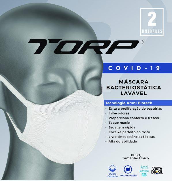 MÁSCARA LAVÁVEL ANTIMICROBIAL BACTERIOSTÁTICA SEM COSTURA TORP - CORONAVÍRUS