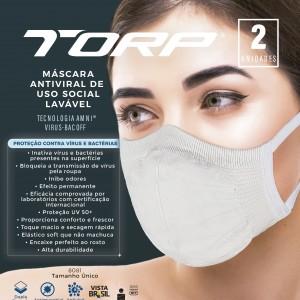 Modelo utilizando a máscara antiviral Torp e principais informações ao lado
