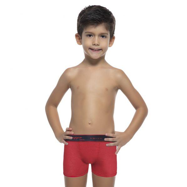 CUECA INFANTIL BOXER TORP VERMELHA ALGODÃO